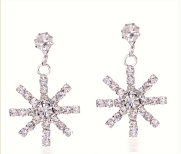 Snow Snowflake Ice Cold Crystal Rhinestone Dangle Drop Earrings