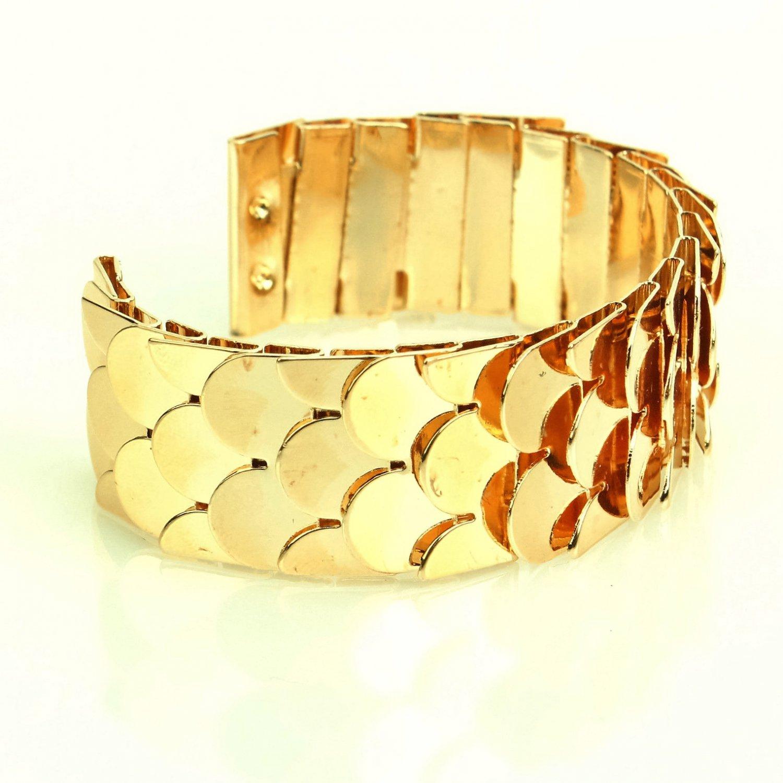 Elegant Designer Inspired Gold Plated Metal Fish Scale Cuff Bangle Bracelet