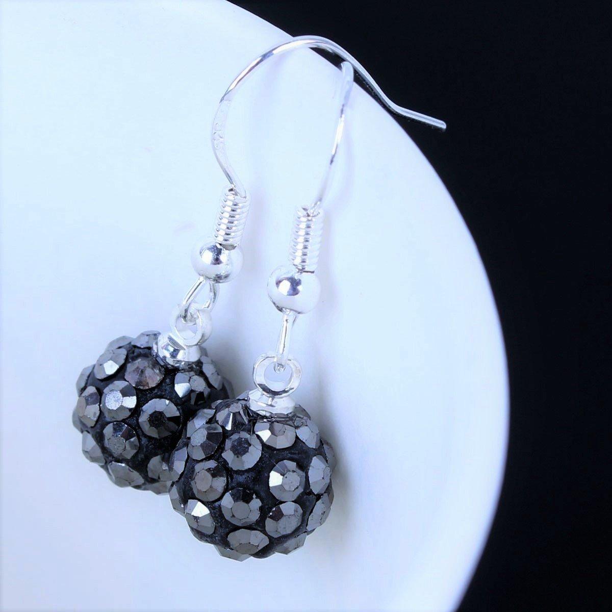 Elegant Dark Silver Grey Crystal Micro Pave Disco Ball Drop Shamballa Stud Earrings