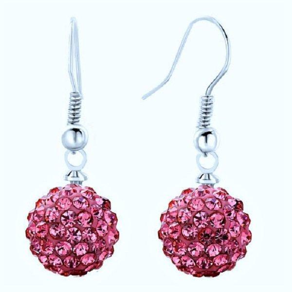 Elegant Reddish Purple Crystal Micro Pave Disco Ball Drop Shamballa Stud Earrings