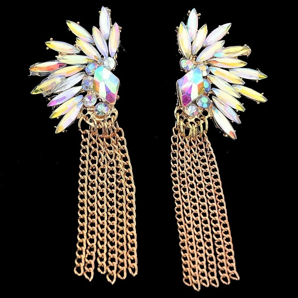 Punk Retro Colorful White Blue Crystal Golden Chain Tassel Dangle sparkling Ice Flower Earrings