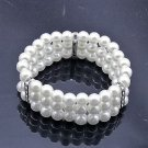 Elegant Multi-Layer Rhinestone White Bridal Pearl Strand Elastic Bracelet