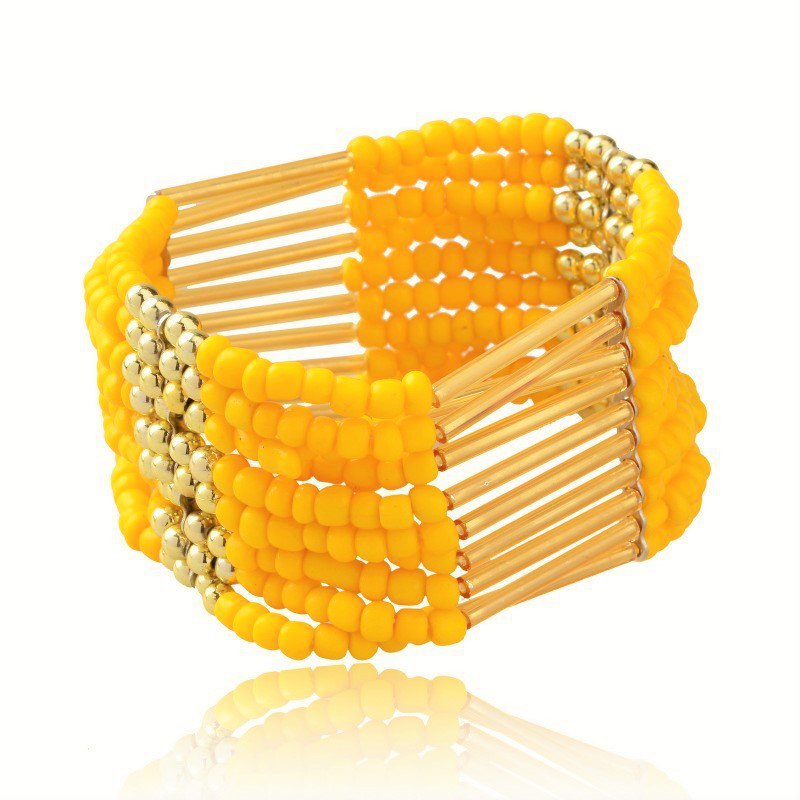 Yellow Bohemian Multilayers Tassel Rice Beads Trendy Chic Luxury Style Bracelet