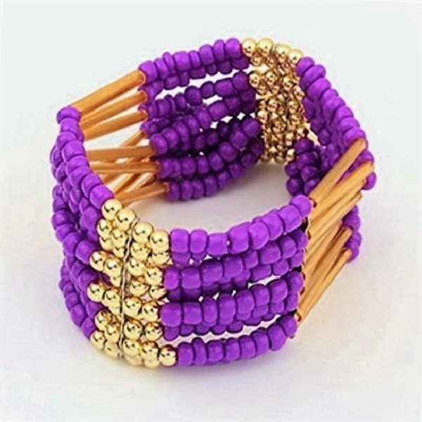 Purple Bohemian Multilayers Tassel Rice Beads Trendy Chic Luxury Style Bracelet