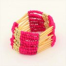 Pink Bohemian Multilayers Tassel Rice Beads Trendy Chic Luxury Style Bracelet