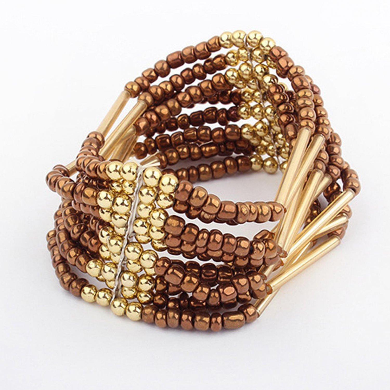 Brown Bohemian Multilayers Tassel Rice Beads Trendy Chic Luxury Style Bracelet
