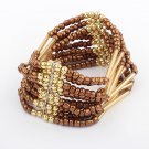 Brown Bohemian Multilayers Tassel Rice Beads Trendy Chic Luxury Style Bracelet