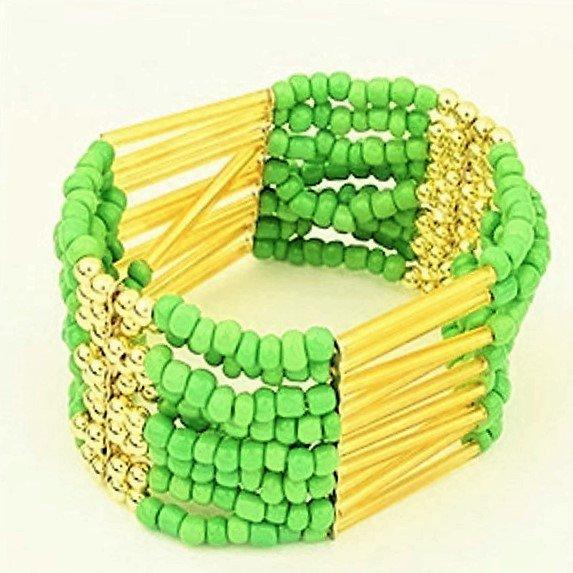 Lime Green Bohemian Multilayers Tassel Rice Beads Trendy Chic Luxury Style Bracelet