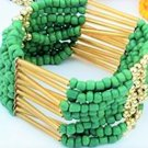 Emerald Green Bohemian Multilayers Tassel Rice Beads Trendy Chic Luxury Style Bracelet