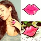 Sexy Ladies Kiss Crystal Rhinestone Pink Lip Ring Adjustable
