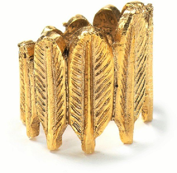 Classic Chic Fashion Punk Retro Antique Yellow Gold Plated Leaf Feather Style Ring