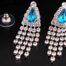 Beautiful Silver Crystal Rhinestone Turquoise Gemstone Teardrop Tassel Earrings