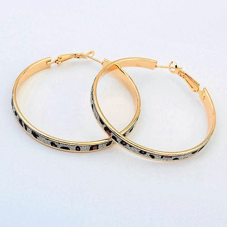 Beautiful Fun Fashion Leopard Gold Plated Leopard Print Big Hoop Circle Earrings