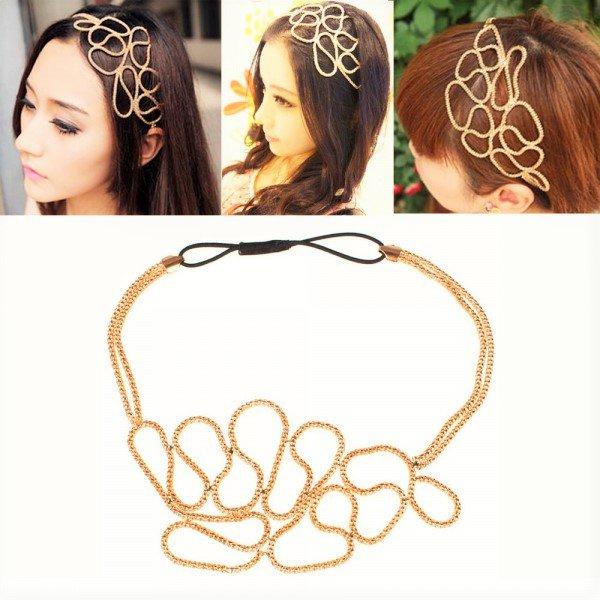 Stylish Retro Vintage Fashion Forward Braided Golden Metallic Elastic Stretch Headband
