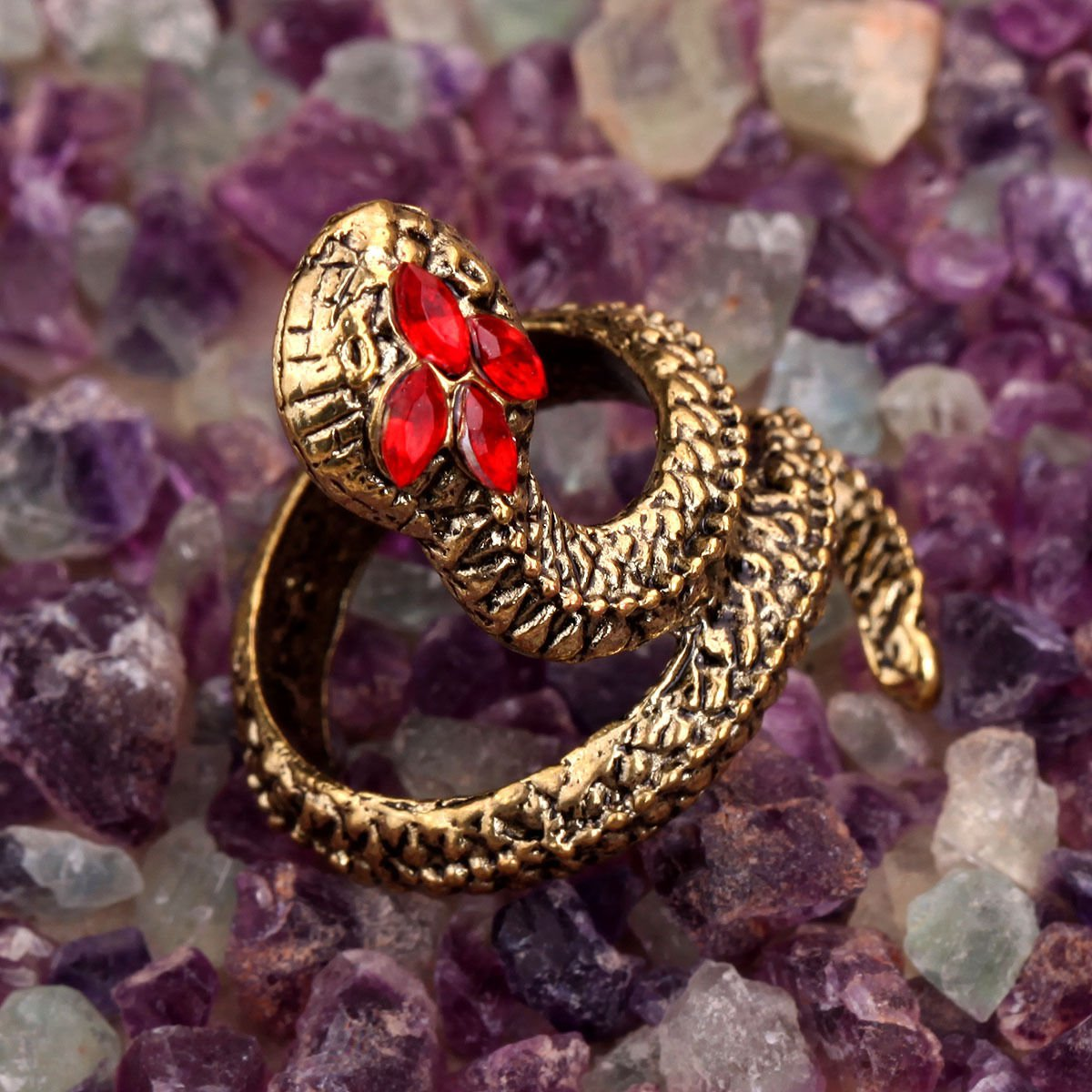 Fashion Punk Exotic Vintage Style Retro Red Crystal Antique Bronze Snake Ring