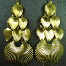 Beautiful Exotic Bohemian Gold Plated Leaf Fan Shell Chandelier Drop Dangle Earrings