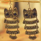Beautiful Exotic Retro Vintage Antique Bronze Owl Pendant Dangle Earrings