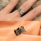Fashion Punk Antique Bronze Vintage Retro Chic Feather Leaf Style Ring