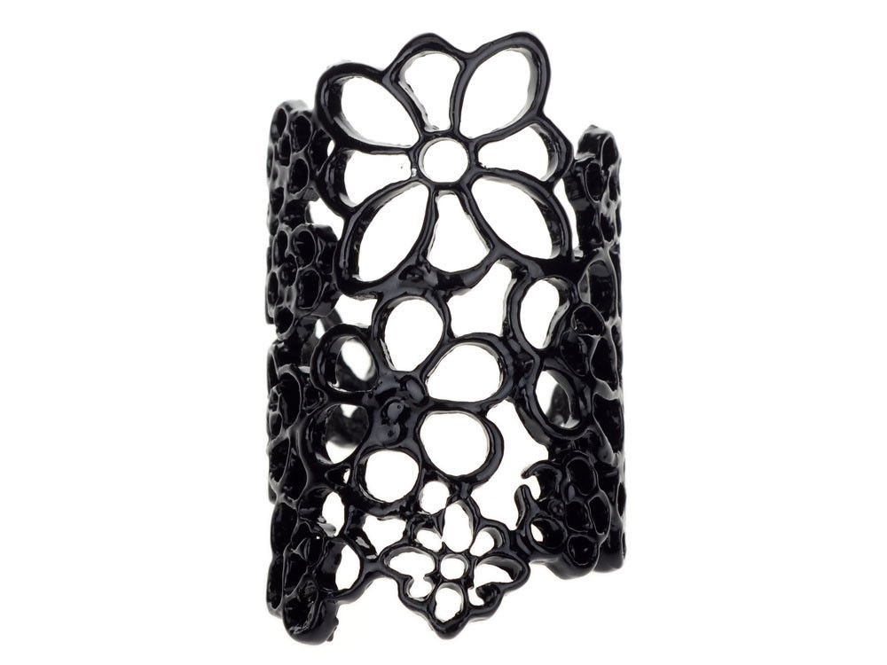 Fashion Victorian Gothic Retro Punk Black Clay Metal Plated Chic Lace Floral Style Ring