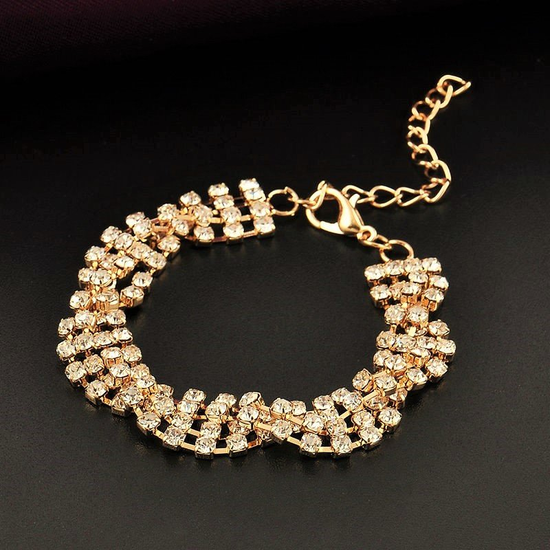 Luxury Delicate Classical Full Shining Silver Rhinestone Crystal Twisted Gold Plated Chain Bracelet