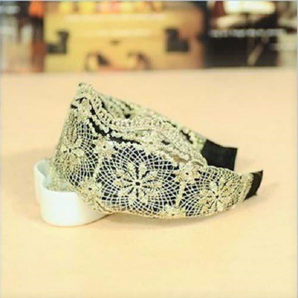 Elegant Vintage Wide Hoop Net Spiderweb Flower Embroidery Lace Headband