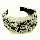 Elegant Vintage Wide Hoop Dragonfly Butterfly Flower Embroidery Lace Headband