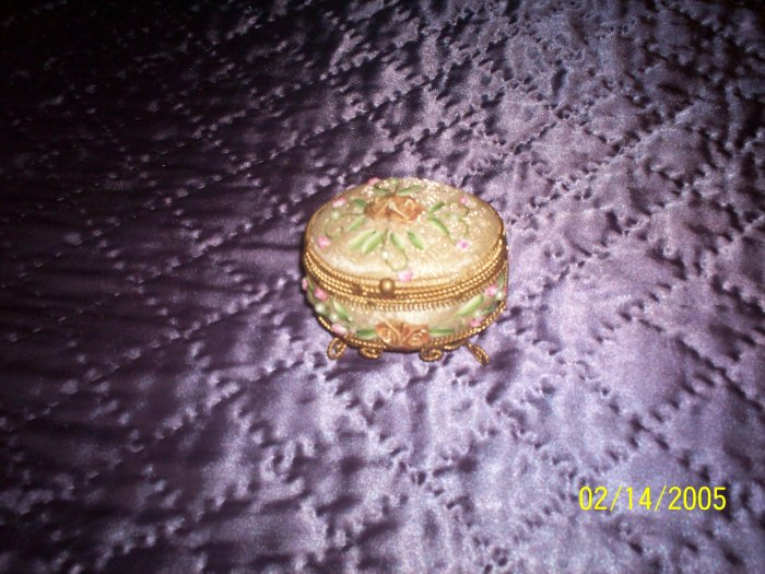 Round satin and beaded trinket box