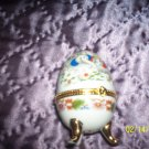 Egg shaped trinket with Elephants and flowers