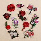 11PCS Embroidered Iron on Applique Patch Badge Rose Flower Dress Crafts Sewing F