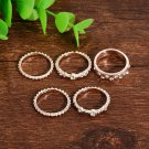 5Pcs/set Crystal Rose Gold Stackable Ring Sparkly Rings Vintage Boho Jewelry FT