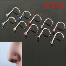 10PCS Nose Rhinestone Surgical Steel Screw Hoop Ring Studs Body Piercing Jewelry