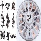240PCS 3D Charm Nail Art Decoration Slice Black Stickers Decal Foil Wheel FT