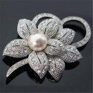 Fashion Crystal Pearl Wedding Bridal Bouquet Silver Flower Charm Brooch Pin Gift