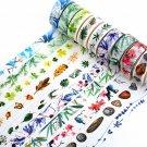 1.5cm*8m DIY Floral Washi Sticker Decor Roll Paper Masking Adhesive Tape Crafts