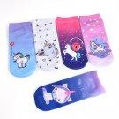 Charm 3D Print Cute Unicorn Socks Low Cut Ankle Women Boat Sock Emoji 1 Pair