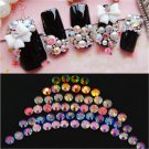 12 Color DIY 3D Nail Art Tips Crystal Glitter Rhinestone Decoration Wheel FT
