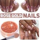 Attractive Rose Gold Mirror Powder Nail Glitter Chrome Powder Nail Art Decor DIY