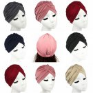 Stretchable Women Indian Chemo Pleated Turban Hat Head Wrap Hijab Cap Headwrap