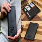 Men Cool Black Long Casual Leather Wallet Pockets Card Clutch Cente Bifold Purse