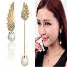 Charm Women Elegant Wings Rhinestone Ear Stud Gold Dangle Earrings Jewelry FT68
