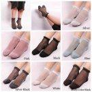 Women Fashion Glitter Crystal Silk Lace Elastic Ultrathin Colorful Short Socks