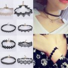 Gothic Punk Black Retro Tattoo Choker Flower Boho Lace Collar Necklace Pendant