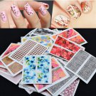 50pcs Lots Sweet Mixed Flowers Pattern Nail Art Decals Water Transfer Stickers F