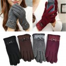 1 Pair Women's Bow Soft Touch Screen Cotton Warm Winter Mittens Gloves Fashion