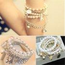 Retro Handmade Charm Gold Metal Pearl Multilayer Pendant Chain Jewelry Bracelet