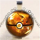 Pokemon Eevee Ball Cabochon Glass Charm Dome Silver Chain Pendant Necklace FT