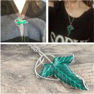 Cool Fashion Lord of The Rings Green Leaf Pin Brooch Pendant Wild Chain Necklace