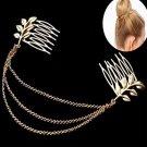 Stylish Women Gold Metal Tassel Leaf Comb Cuff Chain Elegant Headband Hair Band
