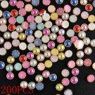200PCS 4mm 3D Sweet Nail Art Alloy Decor Bling Rhinestone Pearl Glitter Tips DIY