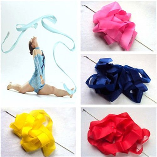 Stylish New Dance Gym Rhythmic Art Gymnastic Ballet Streamer Twirling Rod Ribbon
